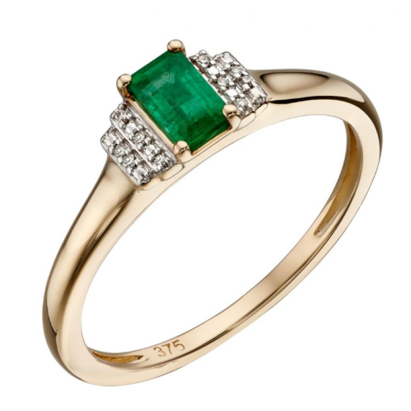 EMERALD/10 PAVE DIAMOND RING