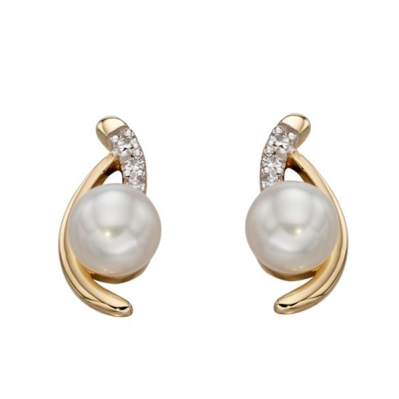 Cream Pearl Diamond Stud Earrings