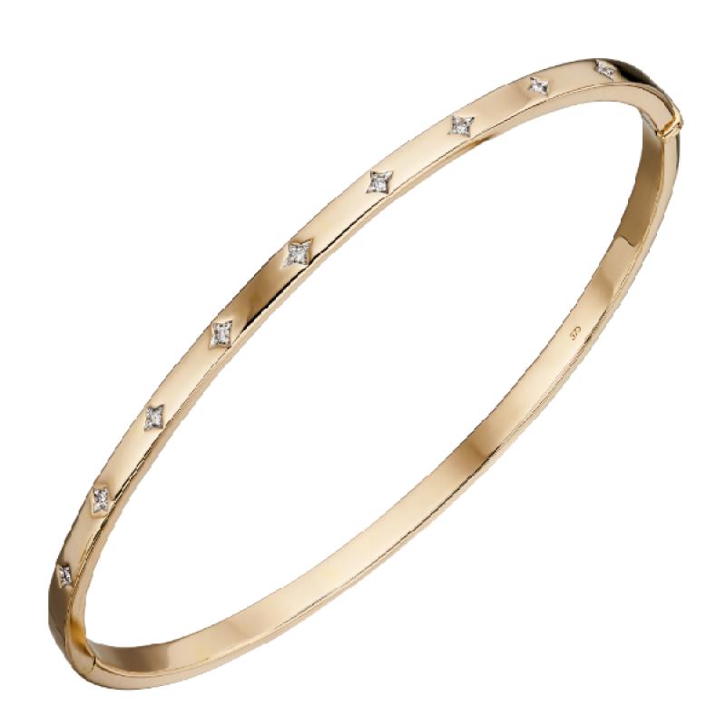 New Collection Starburst Set Diamond Hinge Clasp Bangle.
