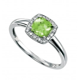 SEMI-PRECIOUS PERIDOT AND DIAMOND RING