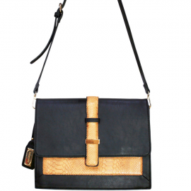 Henley Claudia Bag - Black/Peach Croc