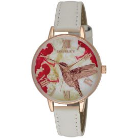 Henley White  Leather Strap Hummingbird