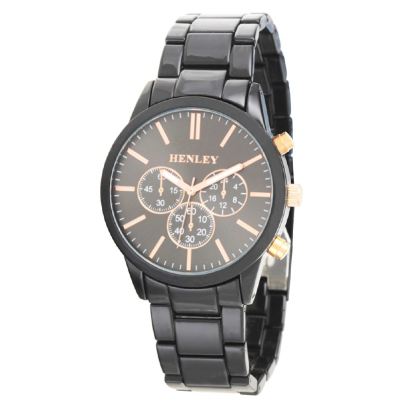 Henley Gents Sports Bracelet Watch Black / Rose Gold