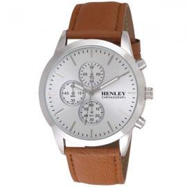 Henley Mens Genuine Leather Chronograph Watch Tan