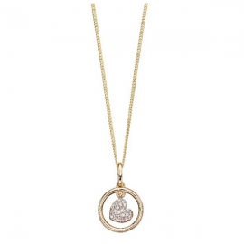 Valentine Diamond and Yellow Gold Swinging Heart Pendant
