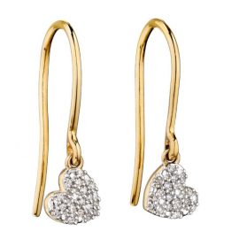 Valentine Diamond and Yellow Gold Swinging Heart Earrings