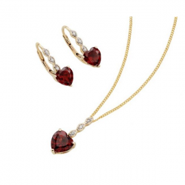 Valentine's Red Garnet Hearts, Sparkling Diamonds Set