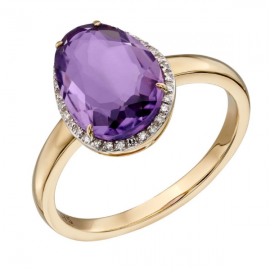 Organic Shaped Amethyst Ring With Pave Diamonds