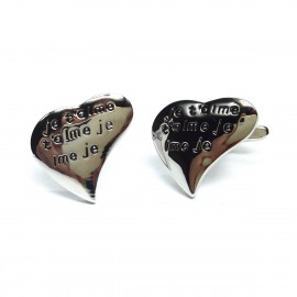 Je T'aime Heart Shaped Cufflinks