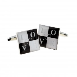 Black & White Love Design Cufflinks