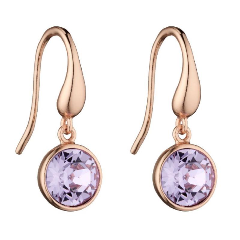 Spring Collection Rose Gold Swarovski Crystal Violet Earrings