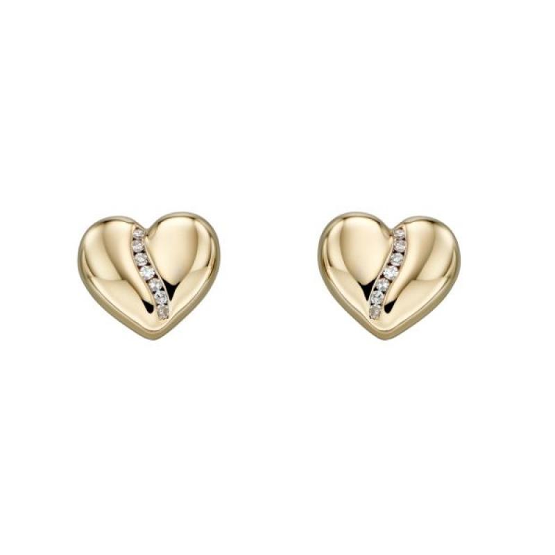 Diamond Channel Heart Earrings