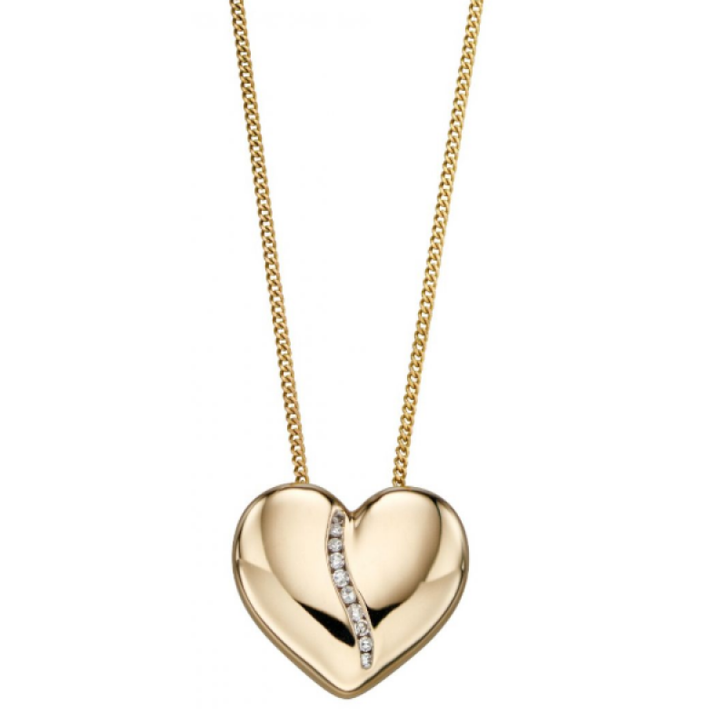 Diamond Channel Heart Pendant / Chain